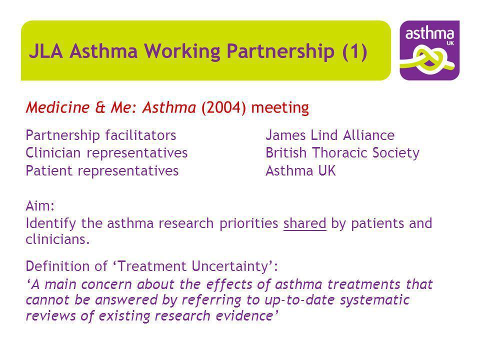 JLA Asthma Working Partnership (1) Medicine & Me: Asthma (2004) meeting Partnership facilitatorsJames Lind Alliance Clinician representativesBritish T