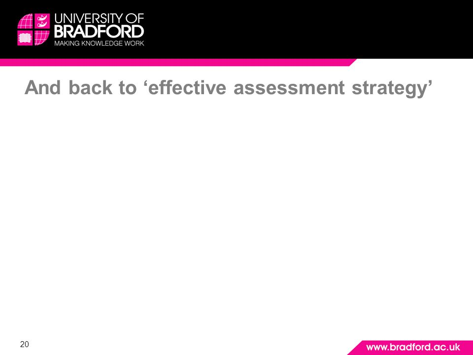 20 And back to effective assessment strategy