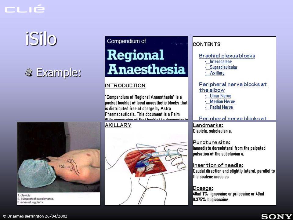 © Dr James Berrington 26/04/2002 iSilo Example: