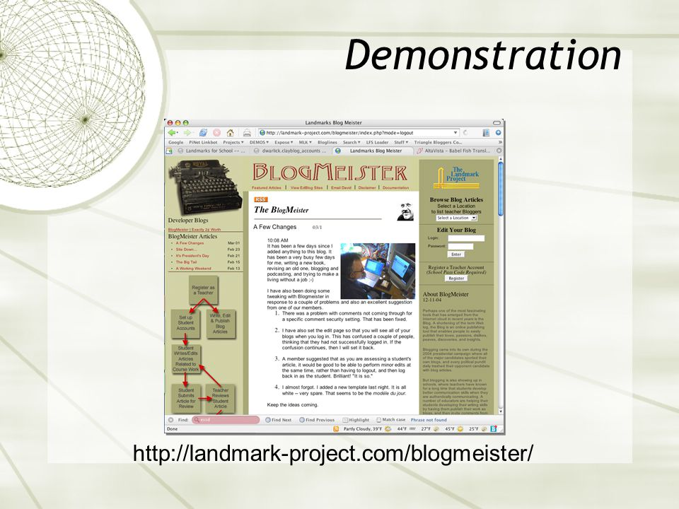 Demonstration http://landmark-project.com/blogmeister/