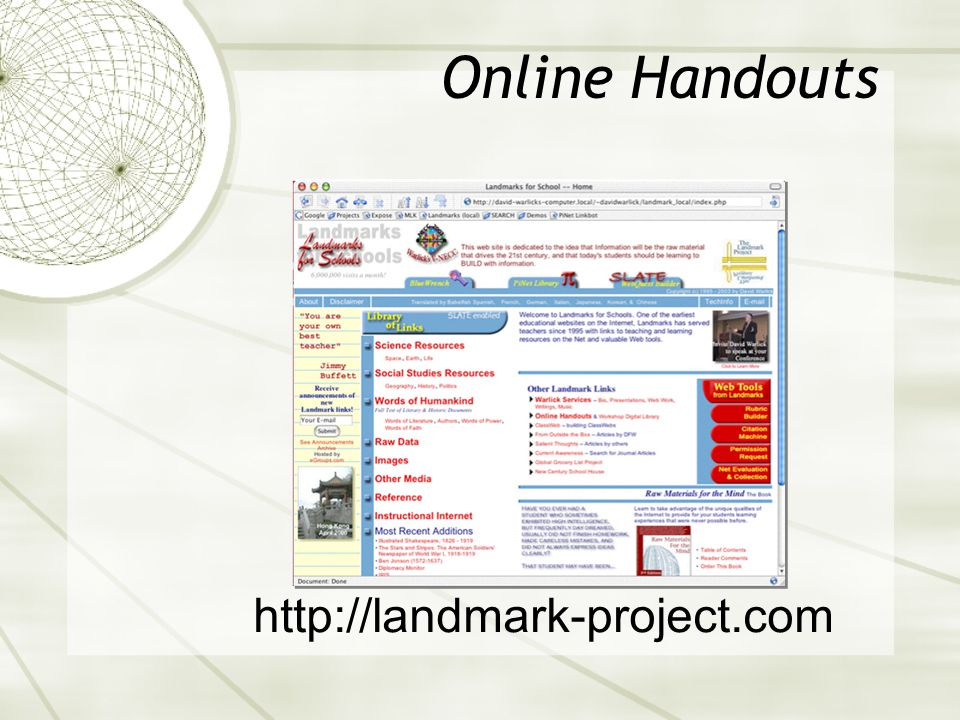 Online Handouts http://landmark-project.com