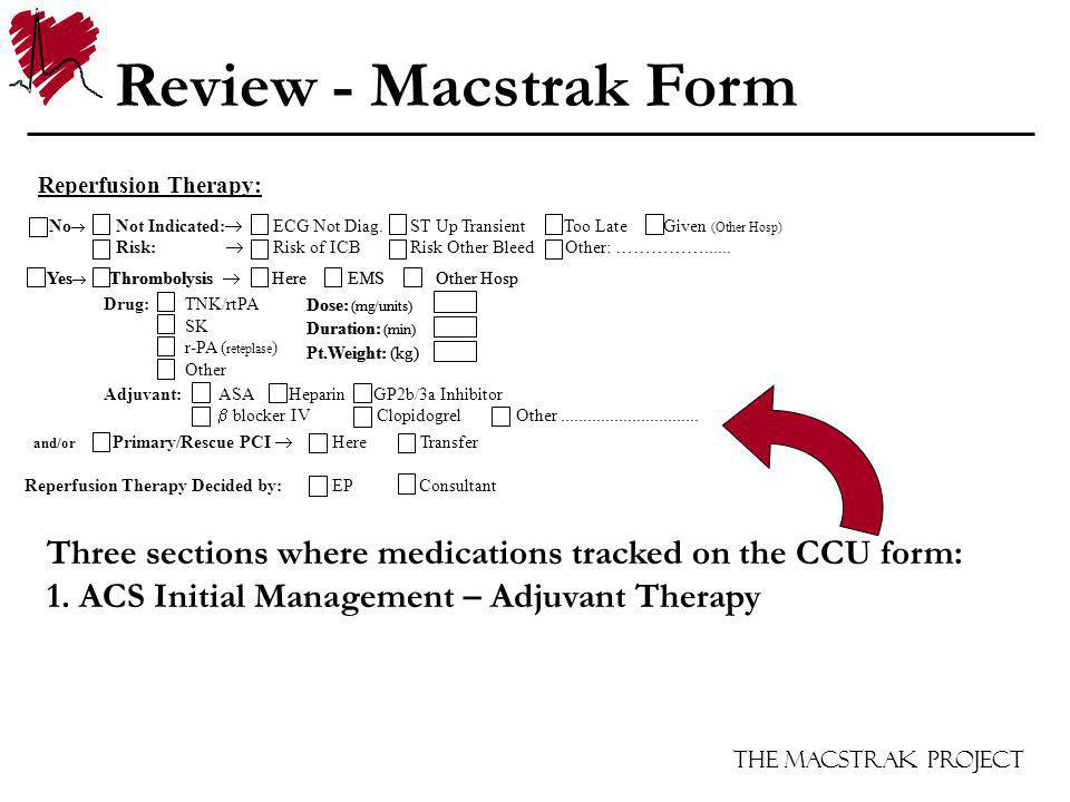 The Macstrak Project Yes Thrombolysis Here EMS Other Hosp Dose: (mg/units) Duration: (min) Pt.Weight: (kg) Reperfusion Therapy: No Not Indicated: ECG Not Diag.