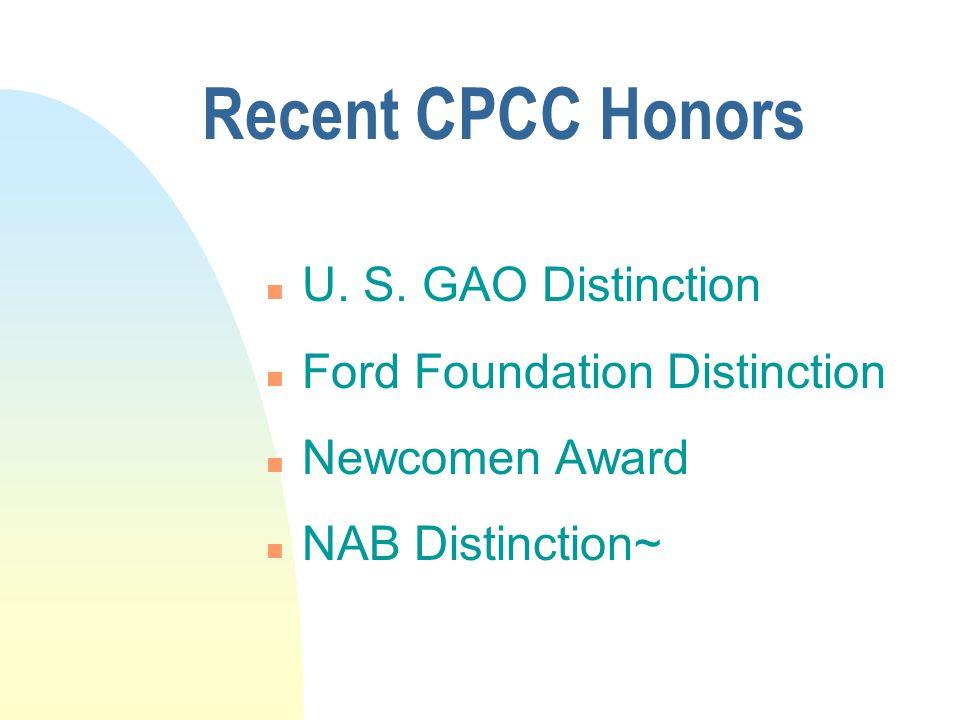 Recent CPCC Honors n U. S.