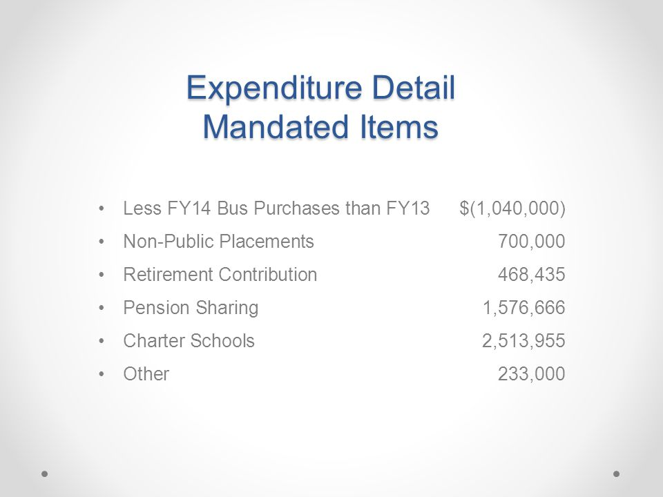 Expenditure Detail Mandated Items Less FY14 Bus Purchases than FY13$(1,040,000) Non-Public Placements 700,000 Retirement Contribution468,435 Pension Sharing1,576,666 Charter Schools2,513,955 Other233,000