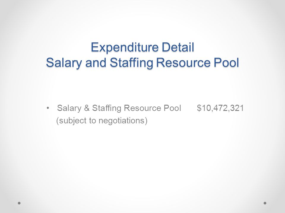 Expenditure Detail Salary and Staffing Resource Pool Salary & Staffing Resource Pool $10,472,321 (subject to negotiations)
