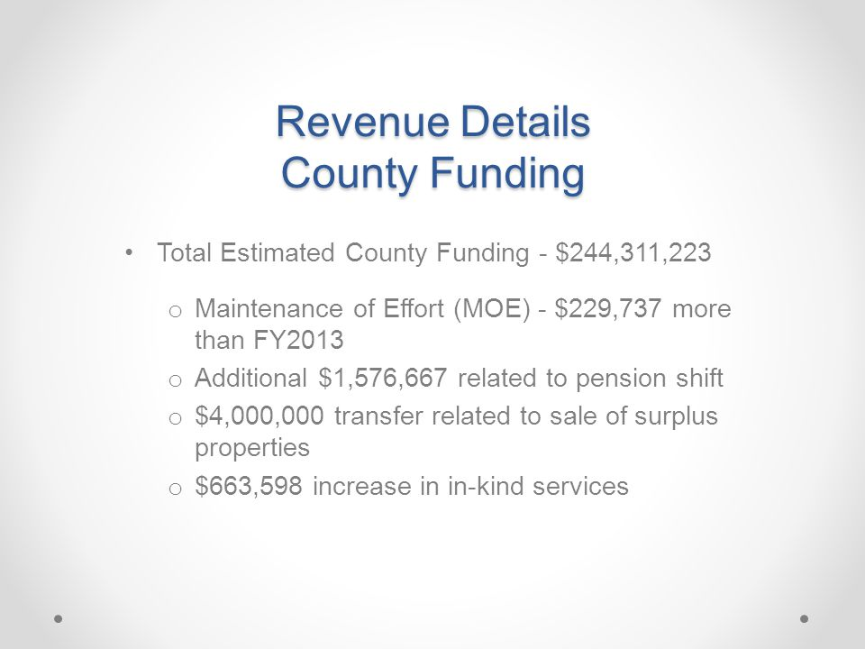 Revenue Details County Funding Total Estimated County Funding - $244,311,223 o Maintenance of Effort (MOE) - $229,737 more than FY2013 o Additional $1,576,667 related to pension shift o $4,000,000 transfer related to sale of surplus properties o $663,598 increase in in-kind services