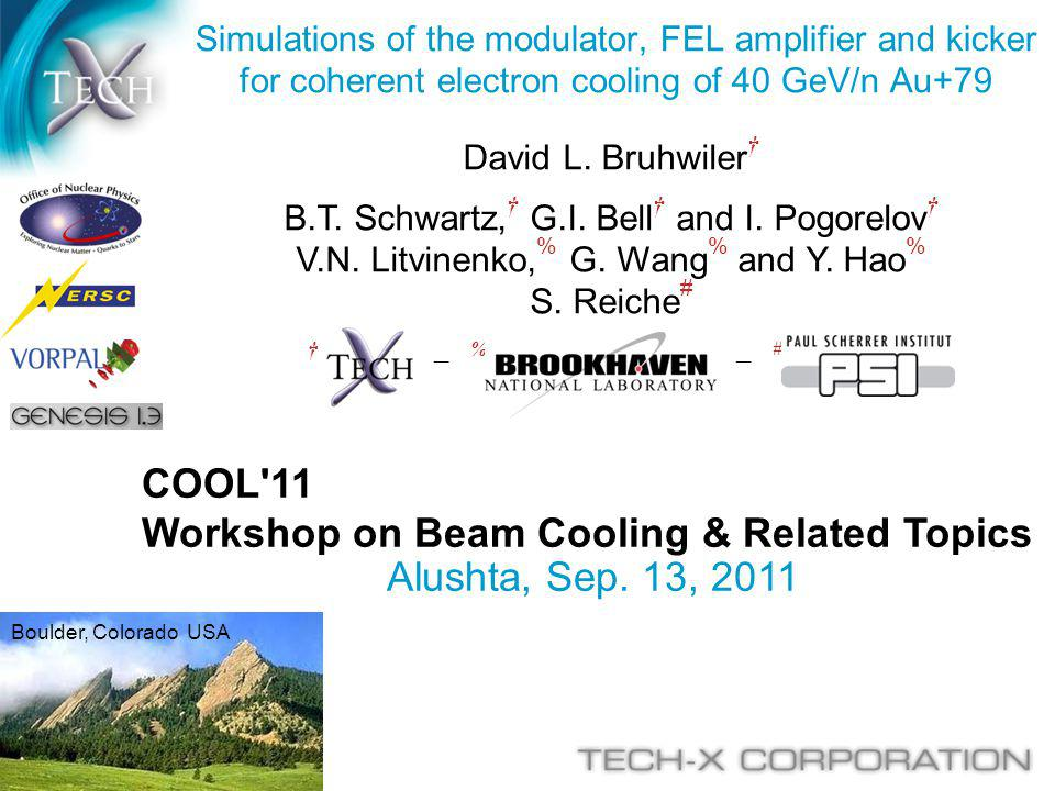 COOL'11 Workshop on Beam Cooling & Related Topics Alushta, Sep. 13, 2011 Simulations of the modulator, FEL amplifier and kicker for coherent electron