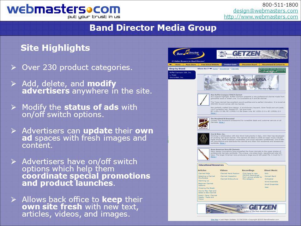 800-511-1800 design@webmasters.com http://www.webmasters.com design@webmasters.com http://www.webmasters.com Over 230 product categories.