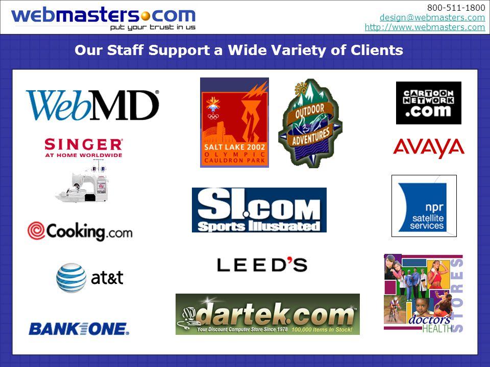 800-511-1800 design@webmasters.com http://www.webmasters.com design@webmasters.com http://www.webmasters.com A Few Samples of Our Work…