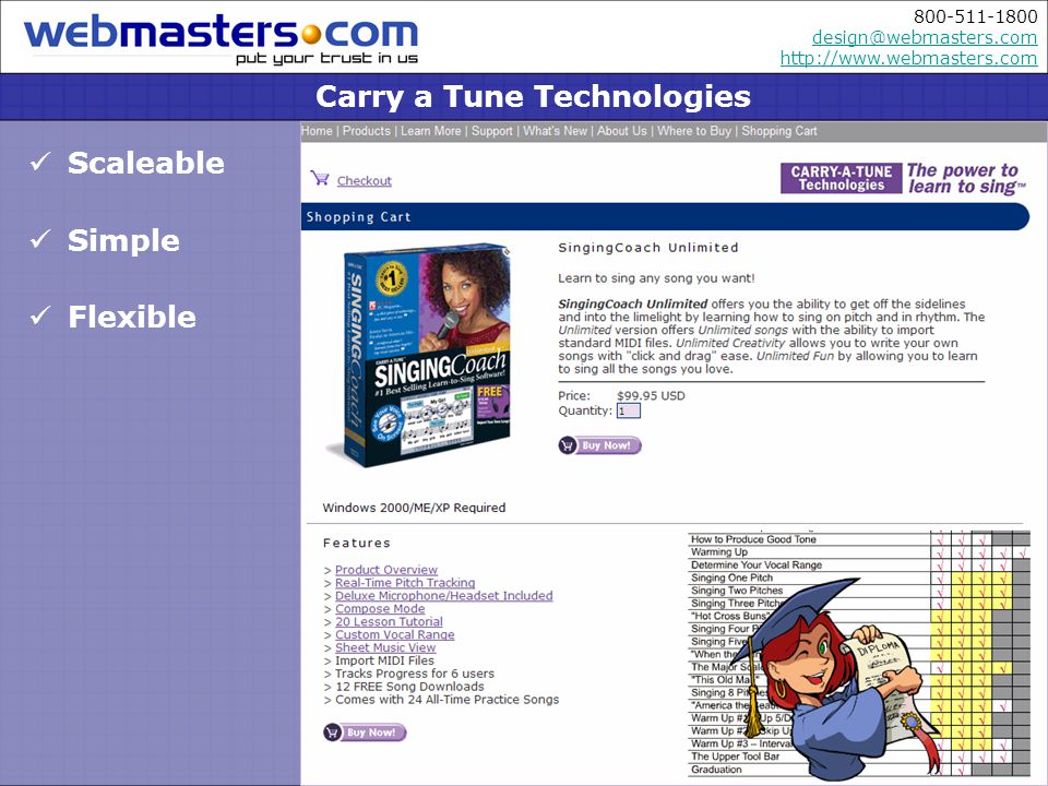 800-511-1800 design@webmasters.com http://www.webmasters.com design@webmasters.com http://www.webmasters.com Coupons Generated from custom admin panel Discounts Available with special promotions Shipping based on weight Order Batched and filled Fraud Filters Deter fraudulent activity Carry a Tune Technologies