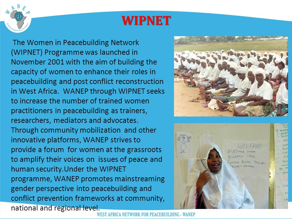 WAPI Launched in 2002, WAPI seeks to increase the knowledge base in West Africa by contributing to research and enhancing the skills and expertise of individuals, organizations and businesses in the area of conflict prevention and peacebuilding.