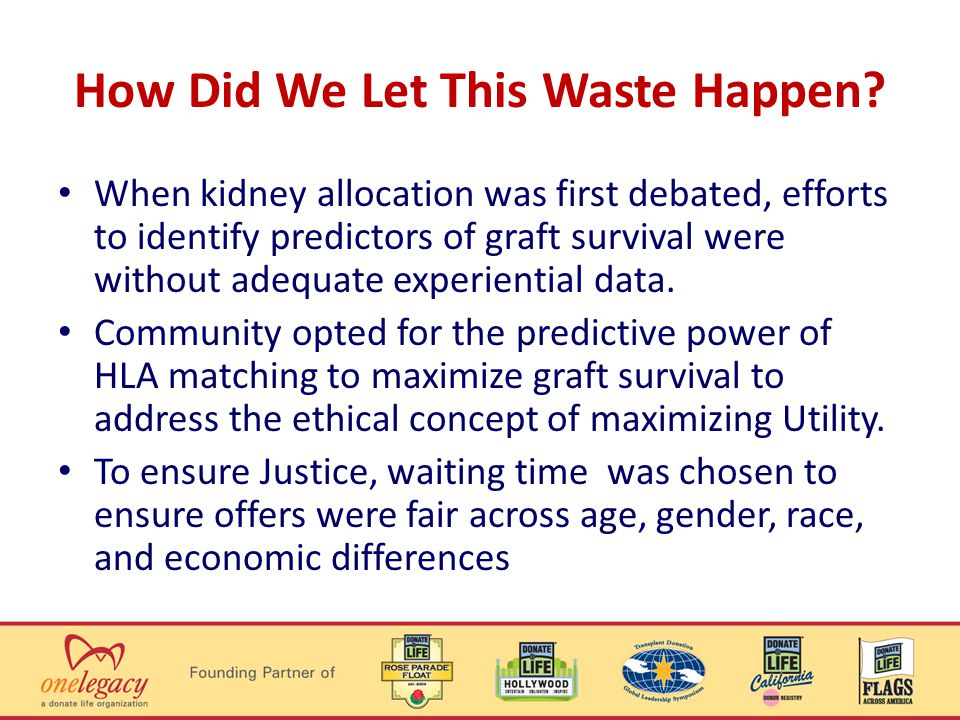 How Did We Let This Waste Happen? When kidney allocation was first debated, efforts to identify predictors of graft survival were without adequate exp
