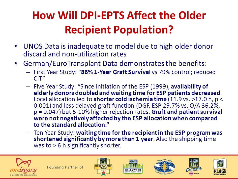 How Will DPI-EPTS Affect the Older Recipient Population.