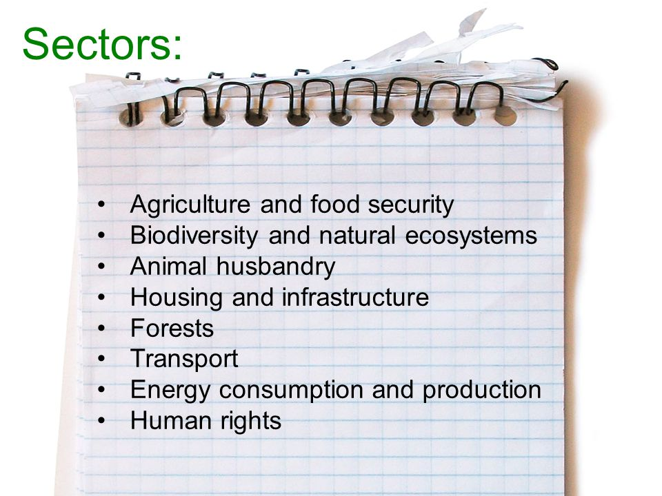 Agriculture and food security Biodiversity and natural ecosystems Animal husbandry Housing and infrastructure Forests Transport Energy consumption and production Human rights Sectors:
