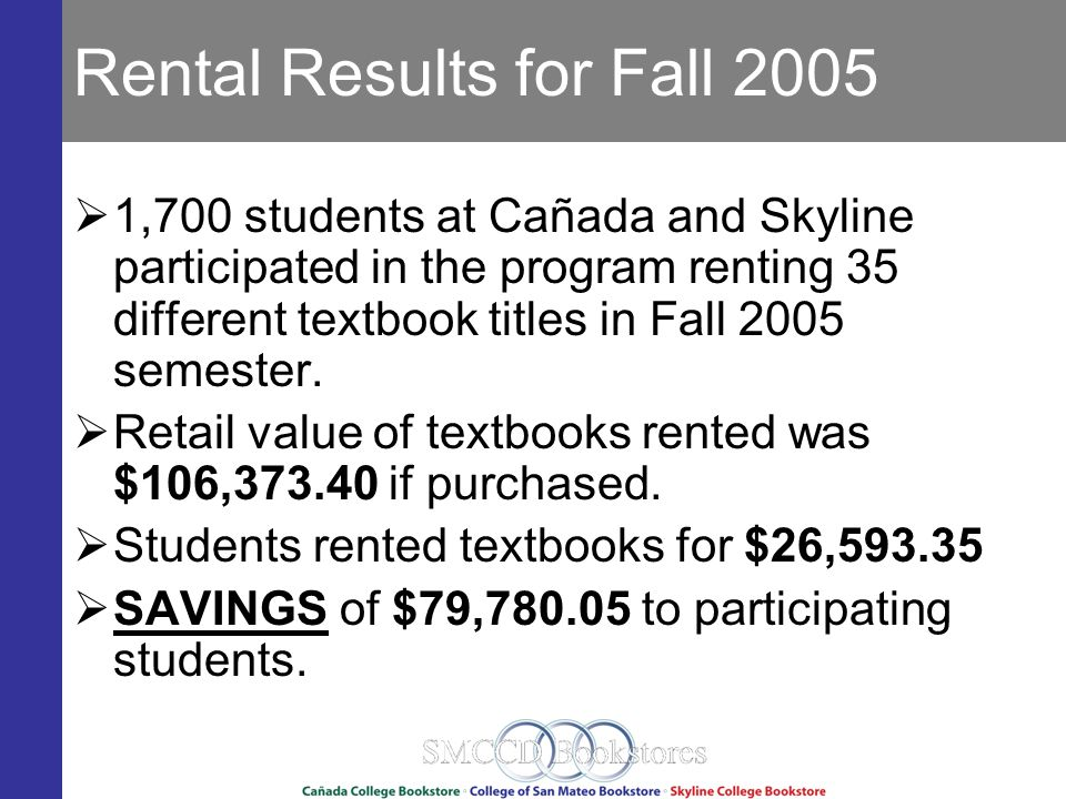 Rental Results for Fall 2005 1,700 students at Cañada and Skyline participated in the program renting 35 different textbook titles in Fall 2005 semester.