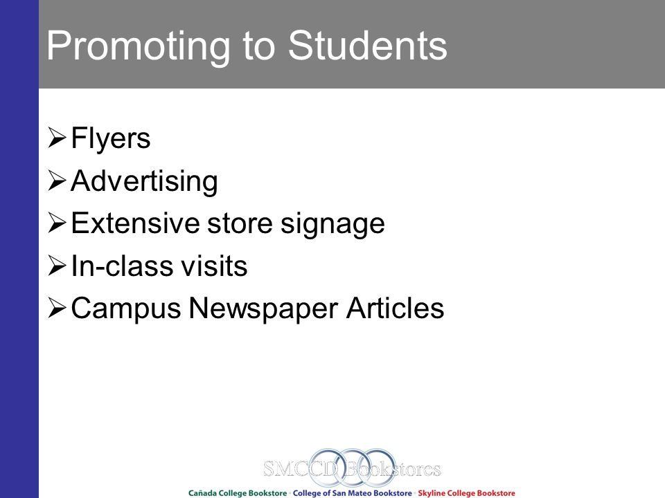 Promoting to Students Flyers Advertising Extensive store signage In-class visits Campus Newspaper Articles