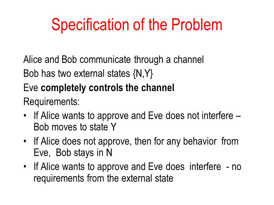Specification of the Problem Alice and Bob communicate through a channel N,Y Bob has two external states {N,Y} Eve completely controls the channel Req