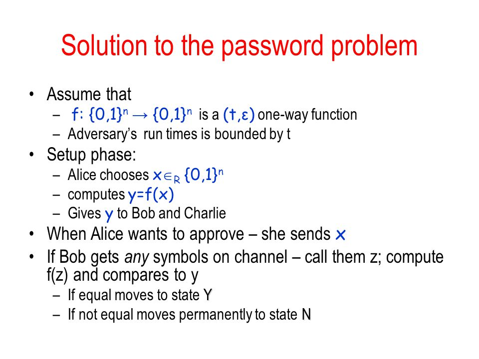 Solution to the password problem Assume that – f: {0,1} n {0,1} n is a (t,ε) one-way function –Adversarys run times is bounded by t Setup phase: –Alic