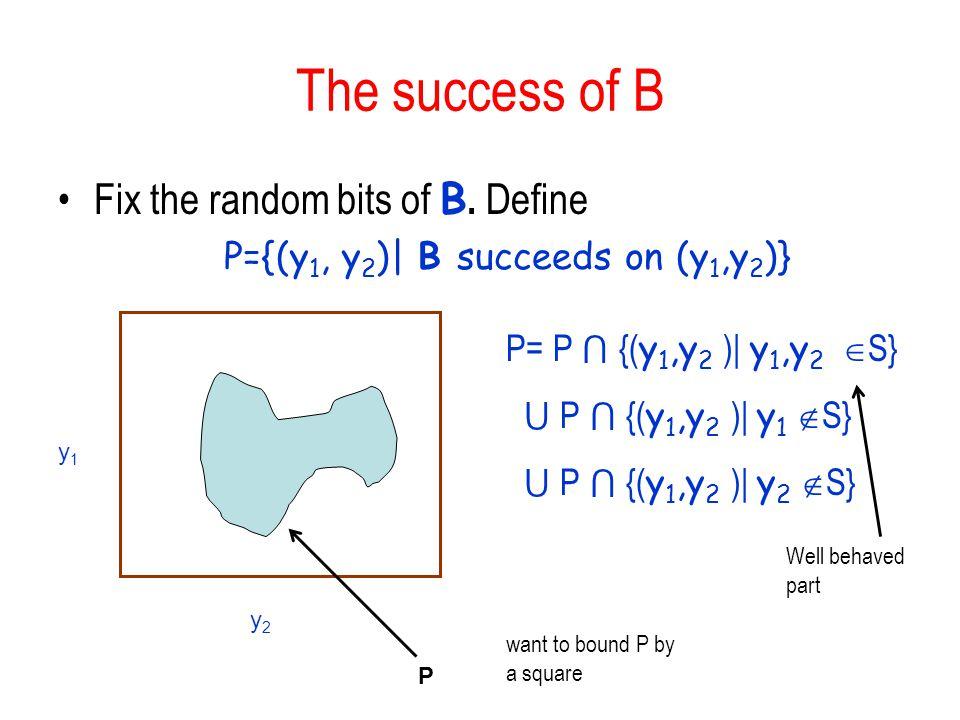 The success of B Fix the random bits of B. Define P={(y 1, y 2 )| B succeeds on (y 1,y 2 )} y1y1 y2y2 P P= P {( y 1,y 2 )| y 1,y 2 S} P {( y 1,y 2 )|