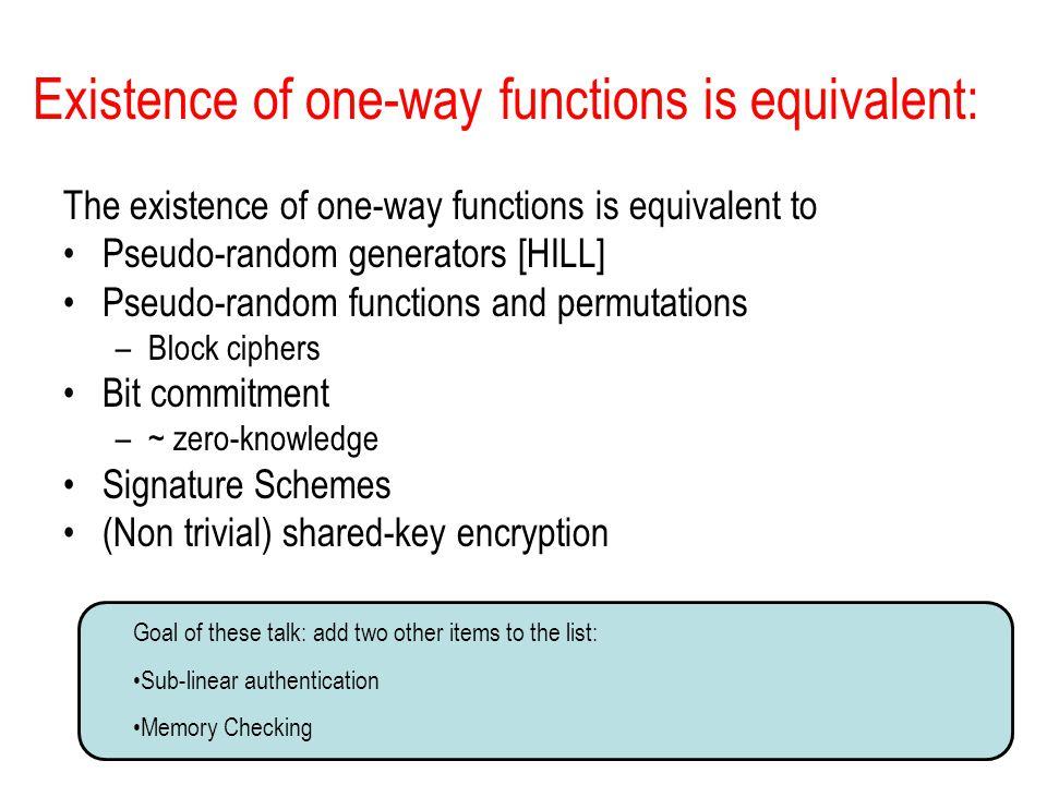 Existence of one-way functions is equivalent: The existence of one-way functions is equivalent to Pseudo-random generators [HILL] Pseudo-random functi