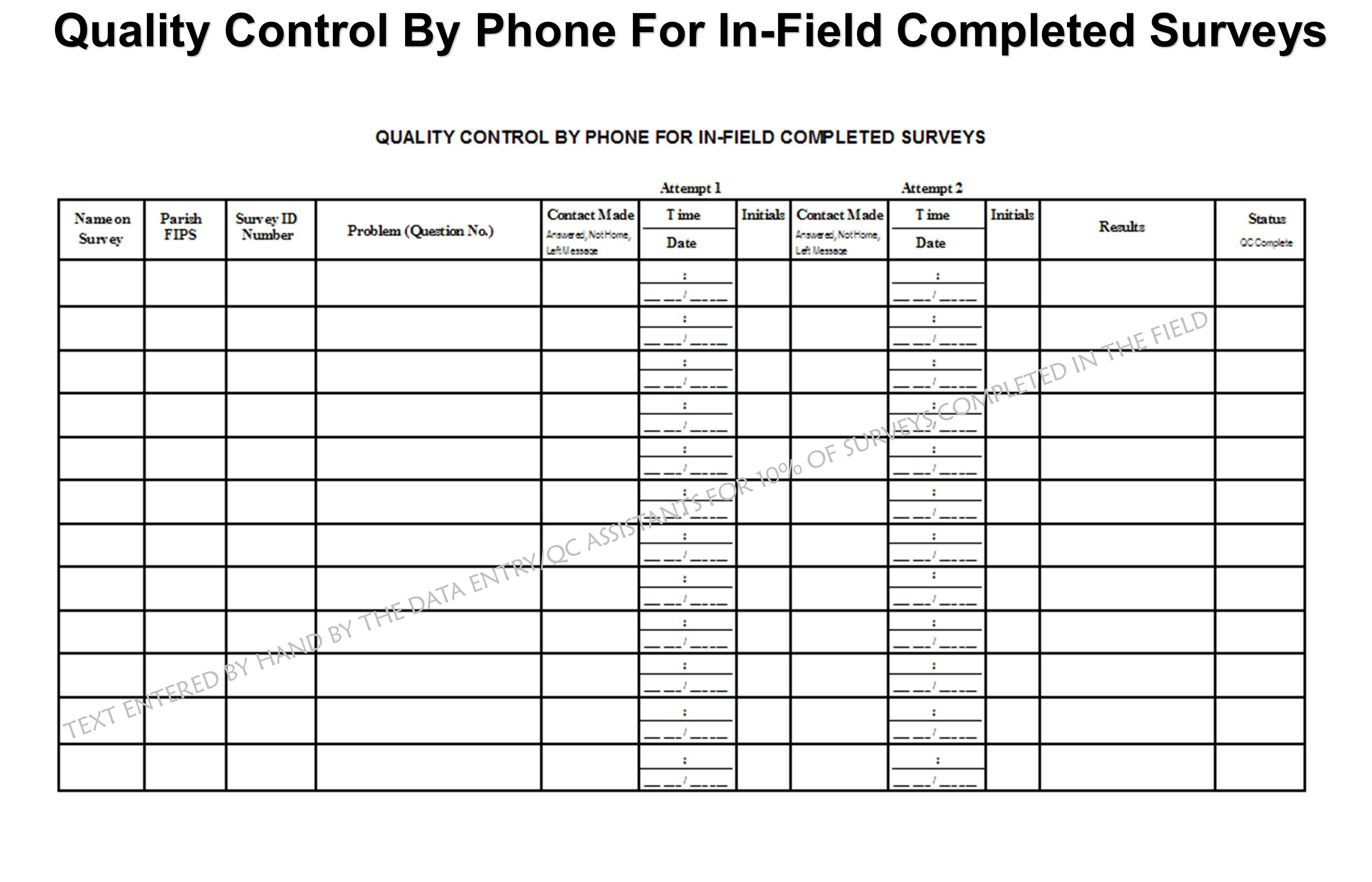 Quality Control By Phone For In-Field Completed Surveys TEXT ENTERED BY HAND BY THE DATA ENTRY/QC ASSISTANTS FOR 10% OF SURVEYS COMPLETED IN THE FIELD