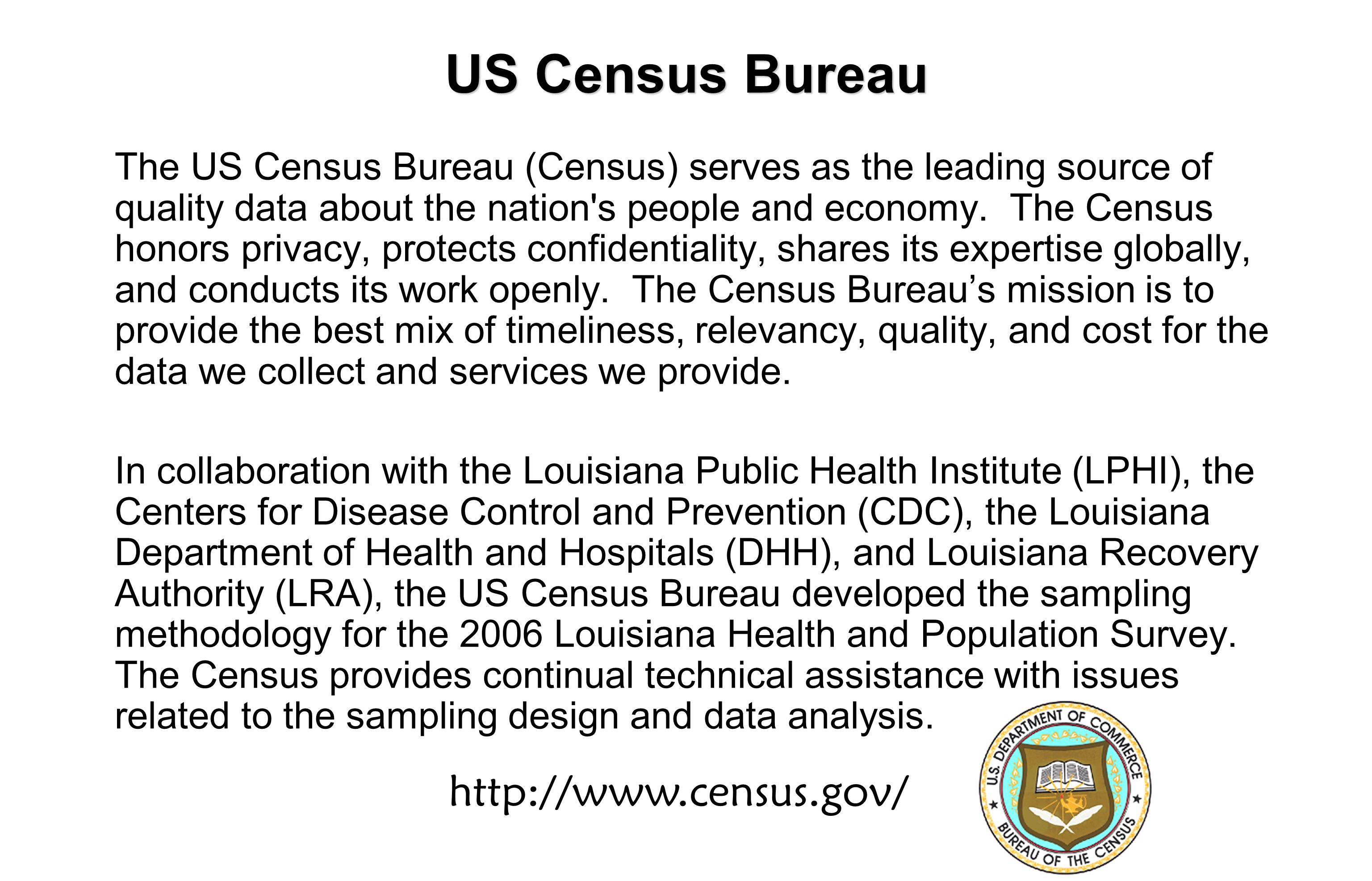 US Census Bureau The US Census Bureau (Census) serves as the leading source of quality data about the nation s people and economy.