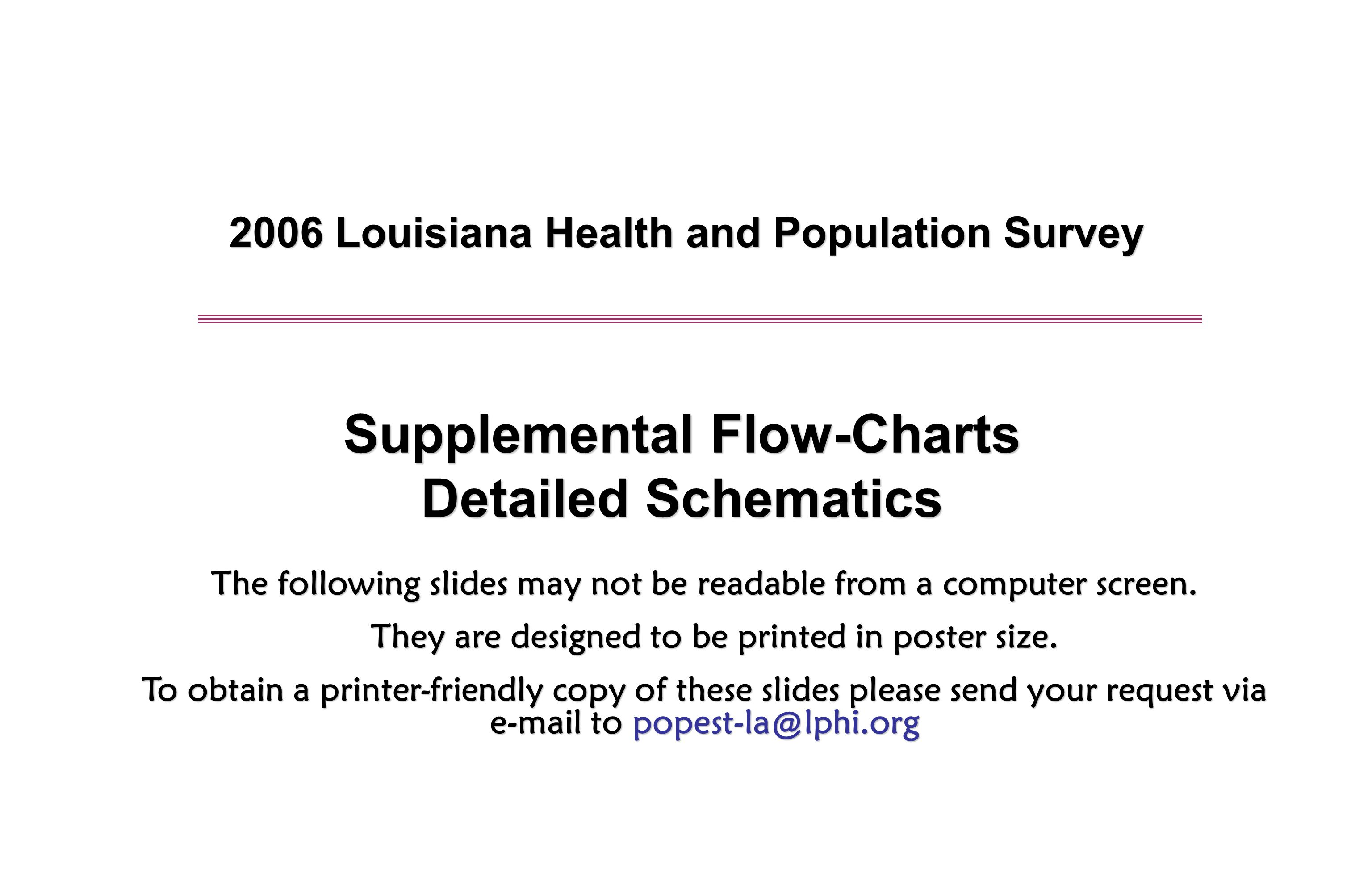 2006 Louisiana Health and Population Survey Supplemental Flow-Charts Detailed Schematics The following slides may not be readable from a computer screen.
