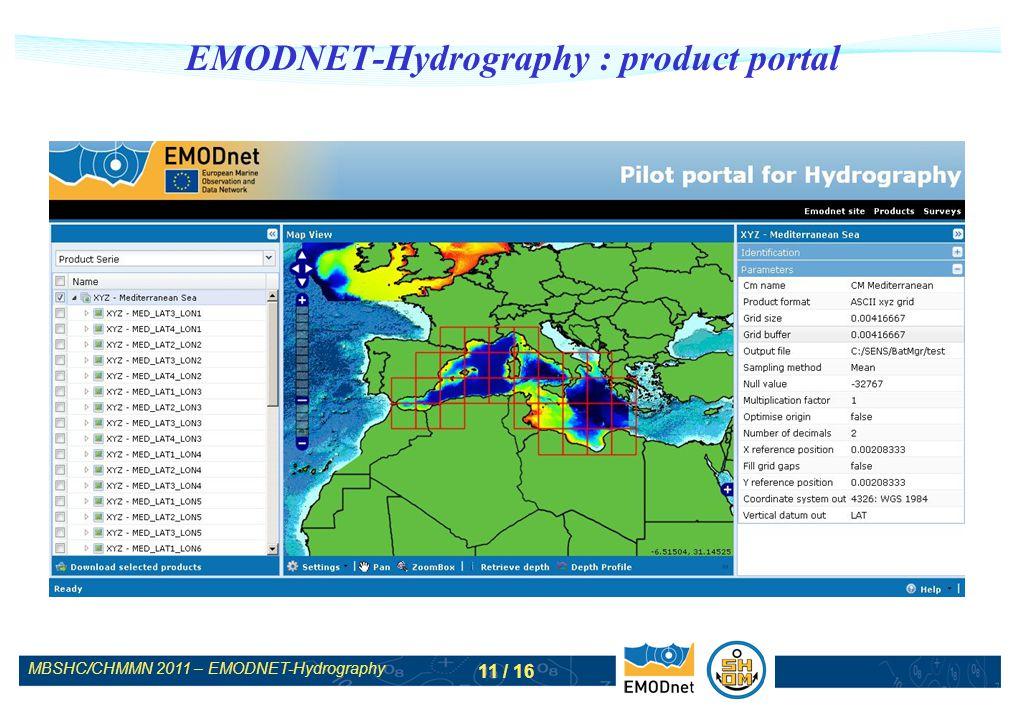 MBSHC/CHMMN 2011 – EMODNET-Hydrography 11 / 16 EMODNET-Hydrography : product portal