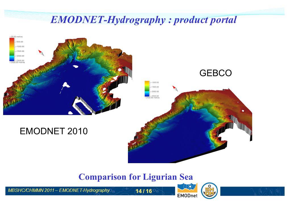 MBSHC/CHMMN 2011 – EMODNET-Hydrography 14 / 16 EMODNET-Hydrography : product portal Comparison for Ligurian Sea EMODNET 2010 GEBCO