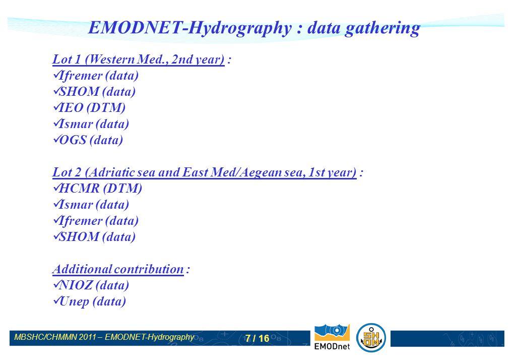 MBSHC/CHMMN 2011 – EMODNET-Hydrography 8 / 16 EMODNET-Hydrography : data gathering West Med contributions IEO Ifremer Shom Gebco