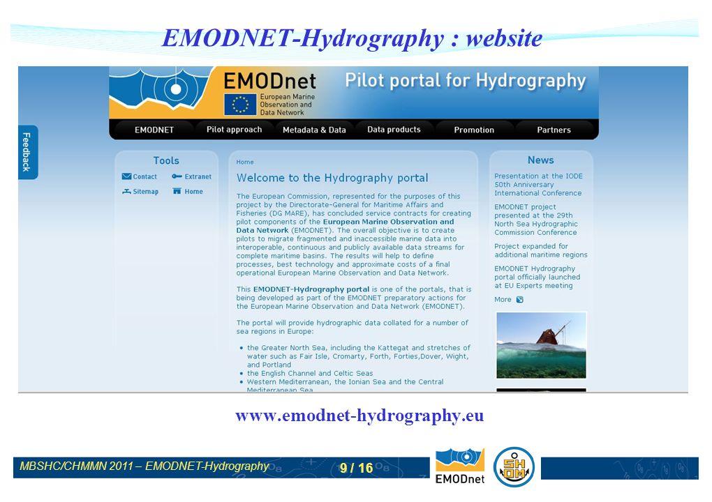 MBSHC/CHMMN 2011 – EMODNET-Hydrography 10 / 16 EMODNET-Hydrography : CDI portal