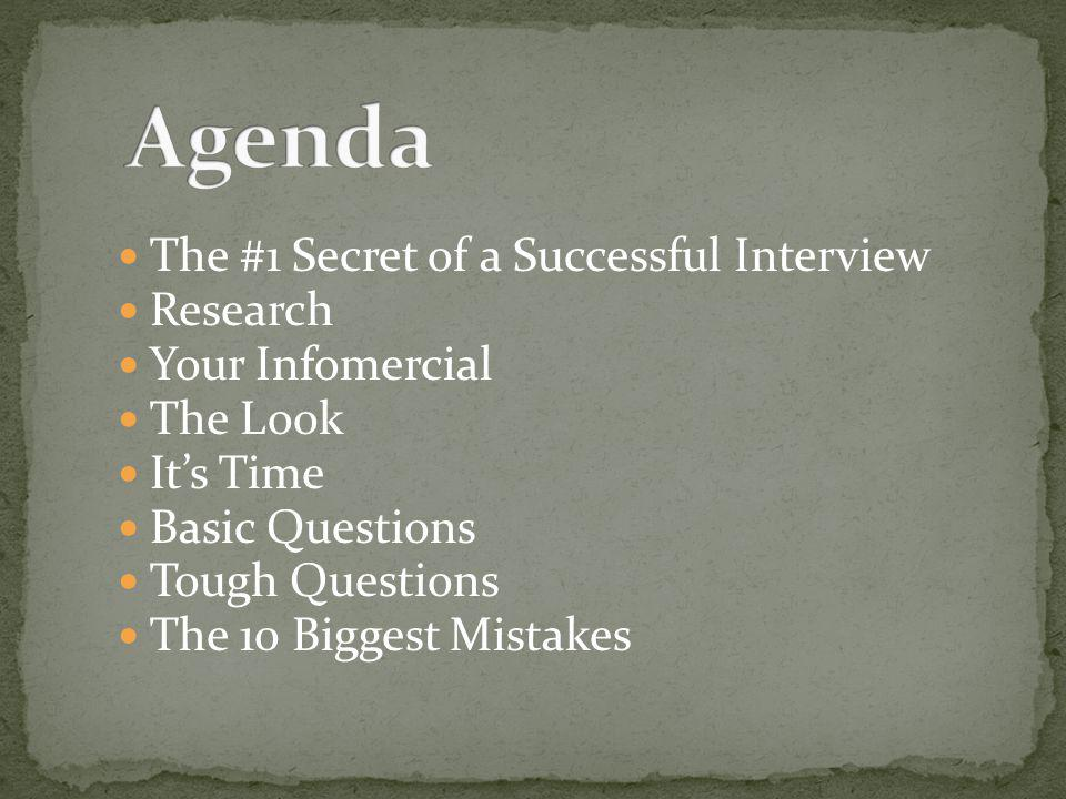 The #1 Secret of a Successful Interview Research Your Infomercial The Look Its Time Basic Questions Tough Questions The 10 Biggest Mistakes