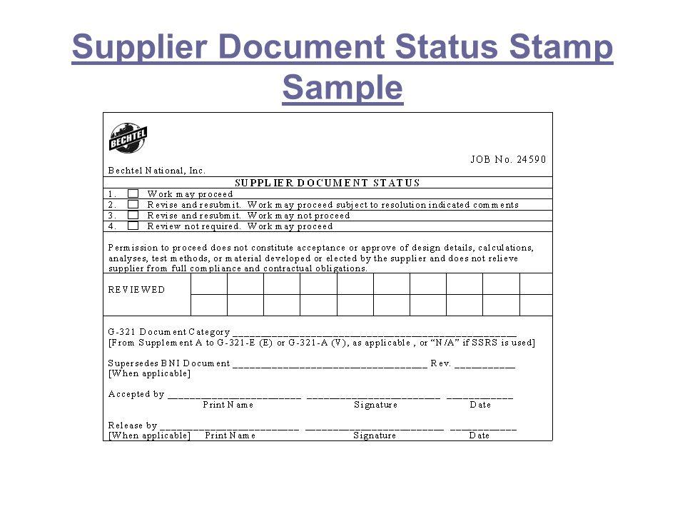 Supplier Document Status Stamp Sample