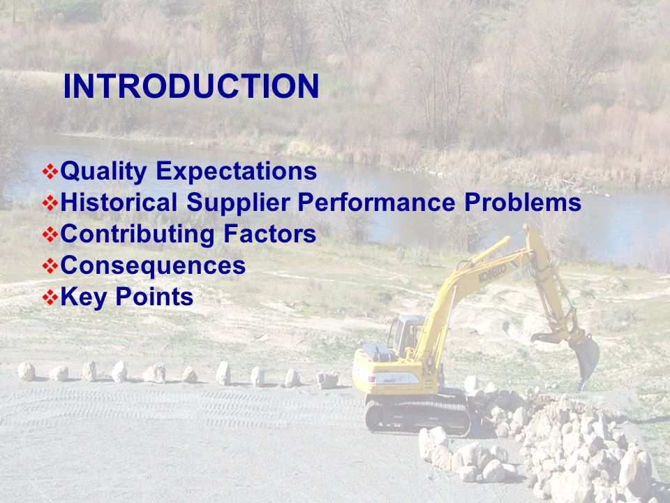 Quality Expectations Historical Supplier Performance Problems Contributing Factors Consequences Key Points INTRODUCTION