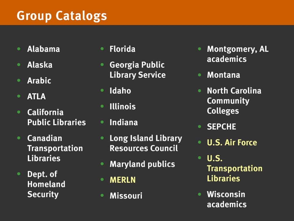 OCLC Online Computer Library Center Group Catalog Services