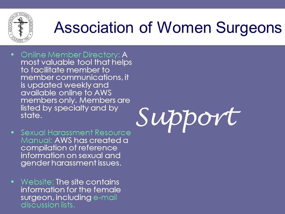 Association of Women Surgeons Online Member Directory: A most valuable tool that helps to facilitate member to member communications, it is updated we