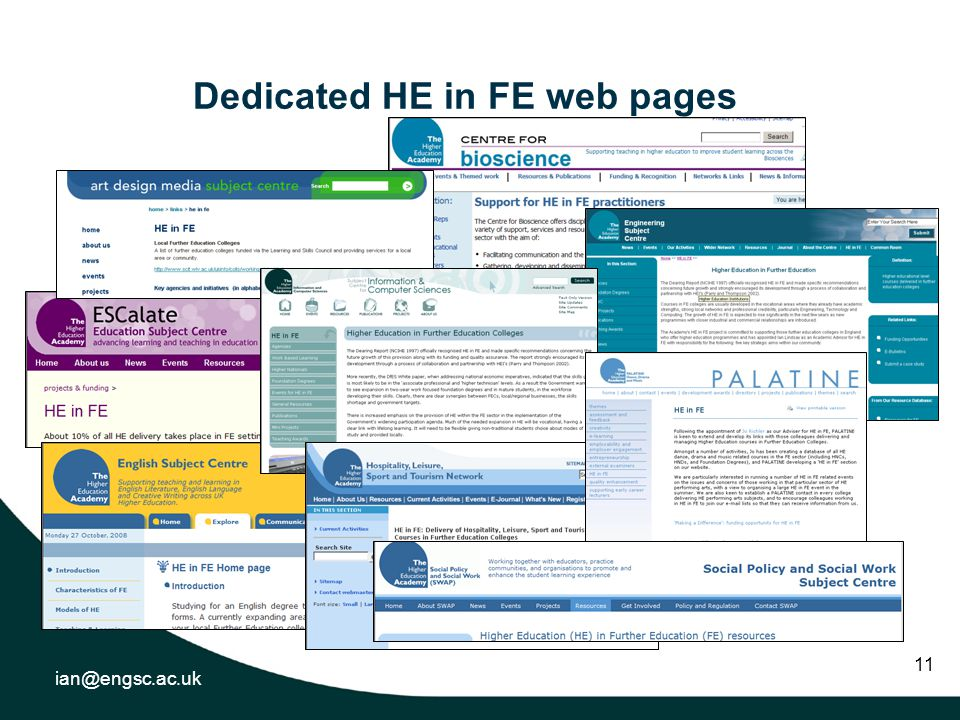 ian@engsc.ac.uk 11 Dedicated HE in FE web pages