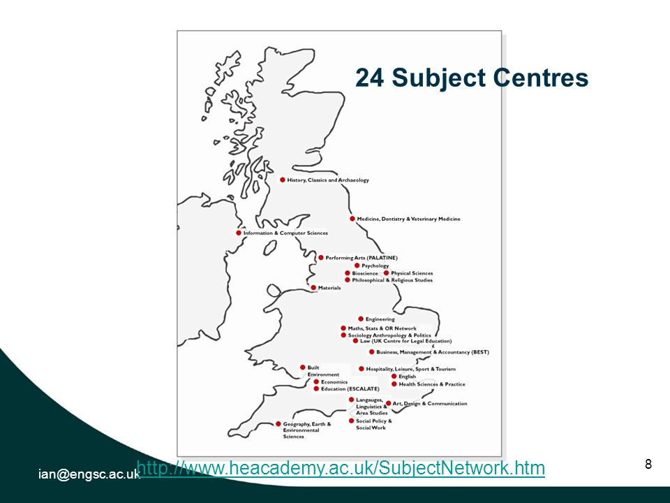 ian@engsc.ac.uk 8 24 Subject Centres http://www.heacademy.ac.uk/SubjectNetwork.htm
