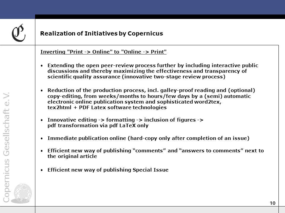 Copernicus Gesellschaft e.V. 10 Realization of Initiatives by Copernicus Inverting