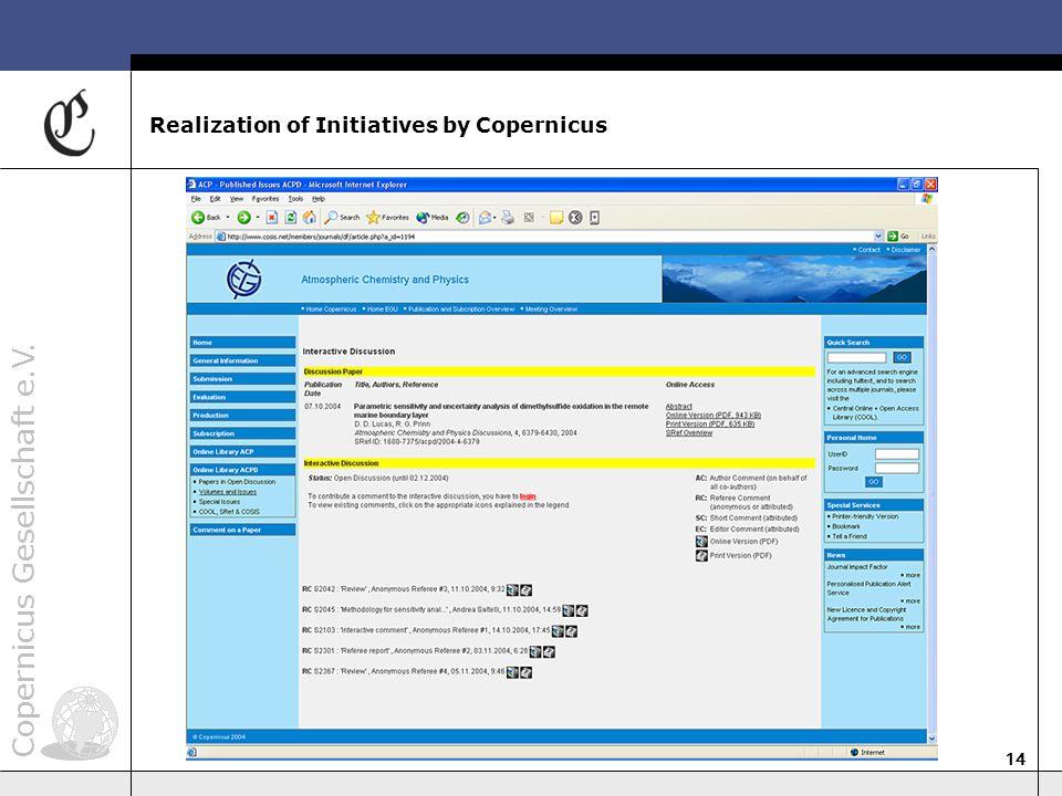 Copernicus Gesellschaft e.V. 14 Realization of Initiatives by Copernicus