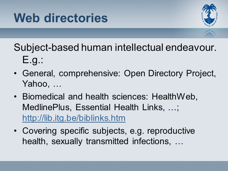 Web directories Subject-based human intellectual endeavour.