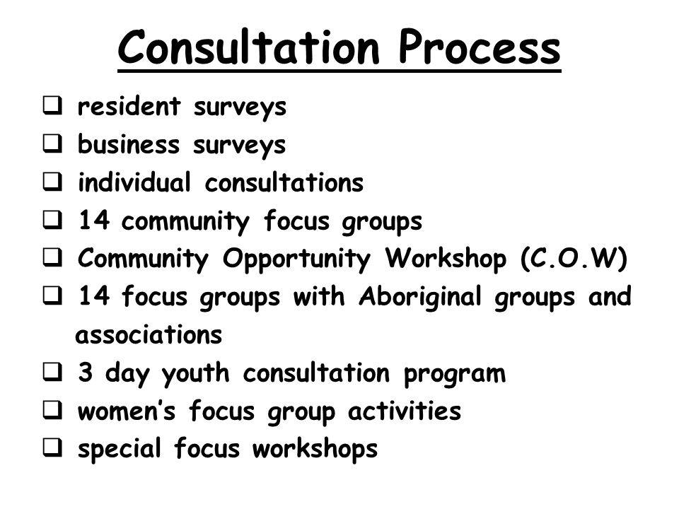 Consultation Process resident surveys business surveys individual consultations 14 community focus groups Community Opportunity Workshop (C.O.W) 14 focus groups with Aboriginal groups and associations 3 day youth consultation program womens focus group activities special focus workshops