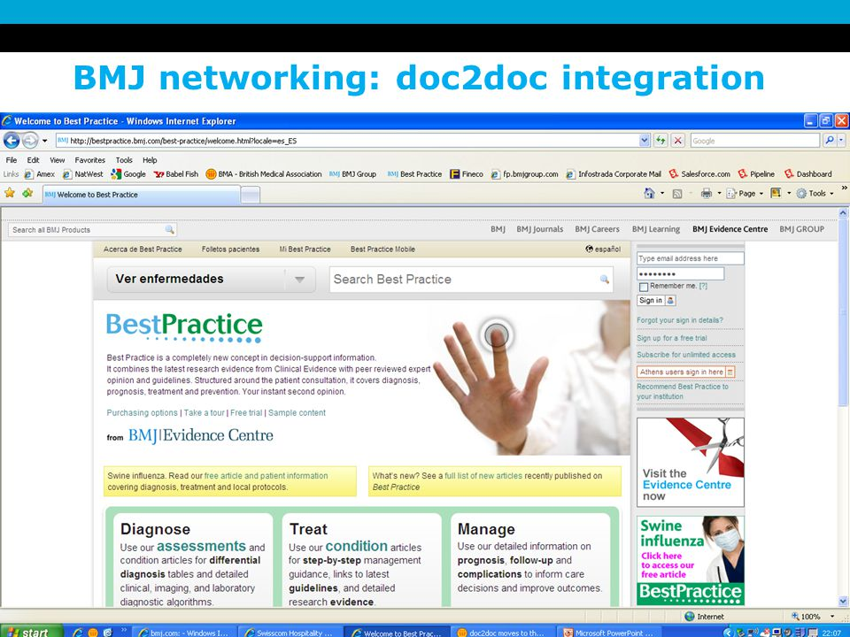 3 December 2007 BMJ networking: doc2doc integration