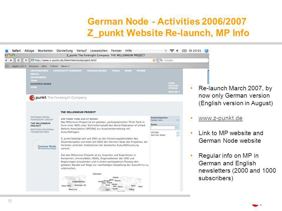 10 German Node - Activities 2006/2007 Z_punkt Website Re-launch, MP Info Re-launch March 2007, by now only German version (English version in August) www.z-punkt.de Link to MP website and German Node website Regular info on MP in German and English newsletters (2000 and 1000 subscribers)