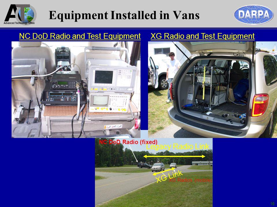 16 XG Radios (mobile) NC DoD Radio (fixed) Equipment Installed in Vans NC DoD Radio and Test EquipmentXG Radio and Test Equipment Legacy Radio Link XG