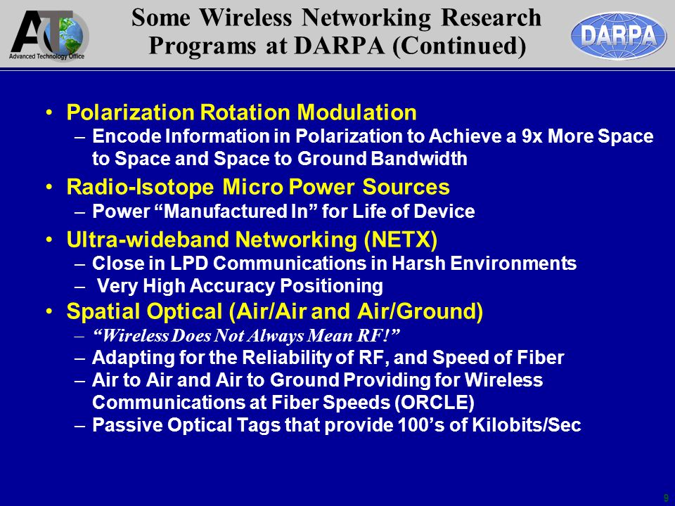 9 Some Wireless Networking Research Programs at DARPA (Continued) Polarization Rotation Modulation –Encode Information in Polarization to Achieve a 9x