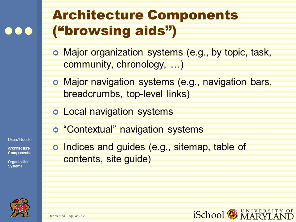 iSchool Architecture Components (browsing aids) Major organization systems (e.g., by topic, task, community, chronology, …) Major navigation systems (e.g., navigation bars, breadcrumbs, top-level links) Local navigation systems Contextual navigation systems Indices and guides (e.g., sitemap, table of contents, site guide) from M&R, pp.