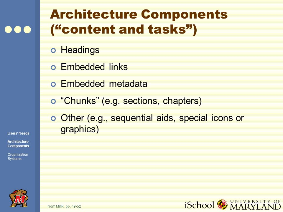 iSchool Architecture Components (content and tasks) Headings Embedded links Embedded metadata Chunks (e.g.