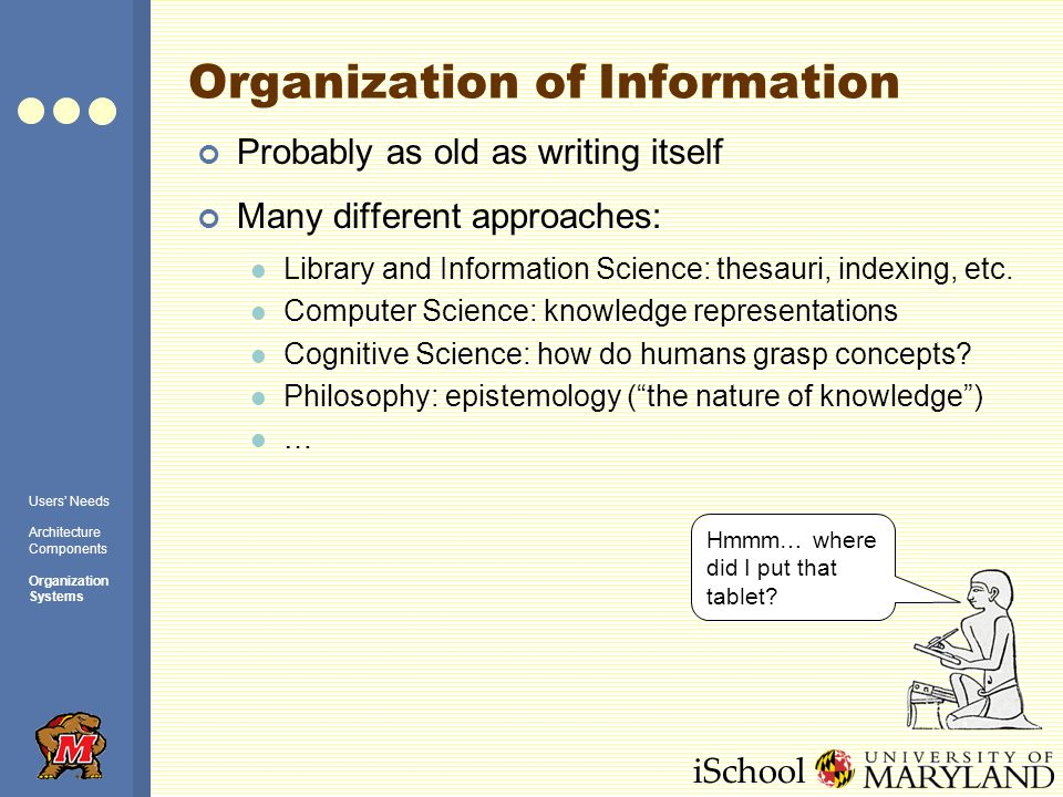 iSchool Organization of Information Probably as old as writing itself Many different approaches: Library and Information Science: thesauri, indexing, etc.