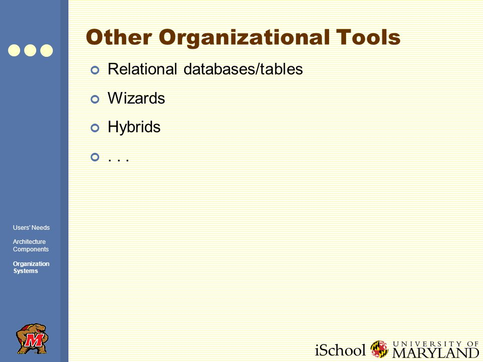 iSchool Other Organizational Tools Relational databases/tables Wizards Hybrids...